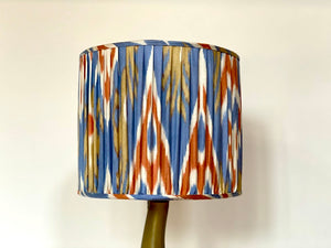 Blue and coral ikat cotton drum Lampshade