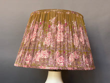 Load image into Gallery viewer, Olive and pink silk lampshade