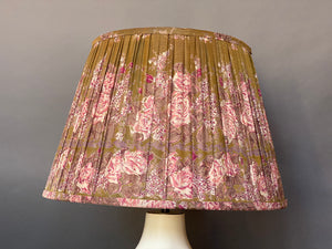 Olive and pink silk lampshade