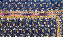 Load image into Gallery viewer, Navy, yellow and pink kantha