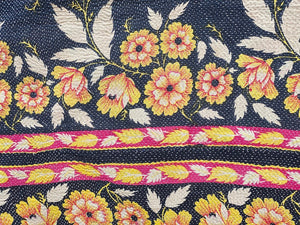 Navy, yellow and pink kantha