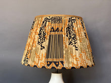 Load image into Gallery viewer, Coral celadon and black silk lampshade