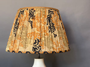 Coral celadon and black silk lampshade