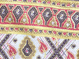 Imperial yellow and magenta kantha
