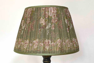 Green and mushroom silk Lampshade