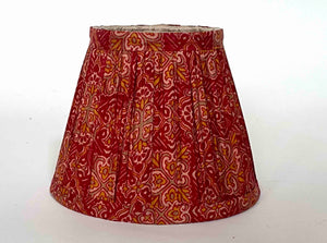 Crimson silk saree lampshade