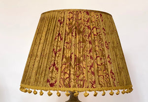 Old gold and red with vintage pom poms silk lampshade