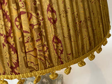 Load image into Gallery viewer, Old gold and red with vintage pom poms silk lampshade