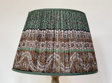 Load image into Gallery viewer, Teal and black paisley silk lampshade