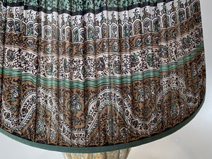 Teal and black paisley silk lampshade