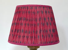 Load image into Gallery viewer, Pink and blue cotton ikat lampshade
