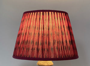 Pink and blue cotton ikat lampshade