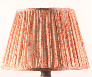 Coral with red and blue silk lampshade