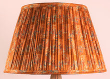 Load image into Gallery viewer, Burnt Orange and Cobalt Silk Lampshade