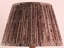 Load image into Gallery viewer, Mushroom and Aubergine Paisley Silk Lampshade