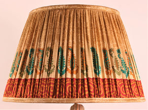 Cream with Burgundy & Teal Pallu and Border Silk Lampshade