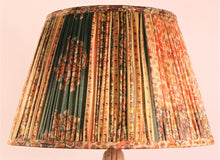 Load image into Gallery viewer, Coral and ochre with green pallu and border silk lampshade