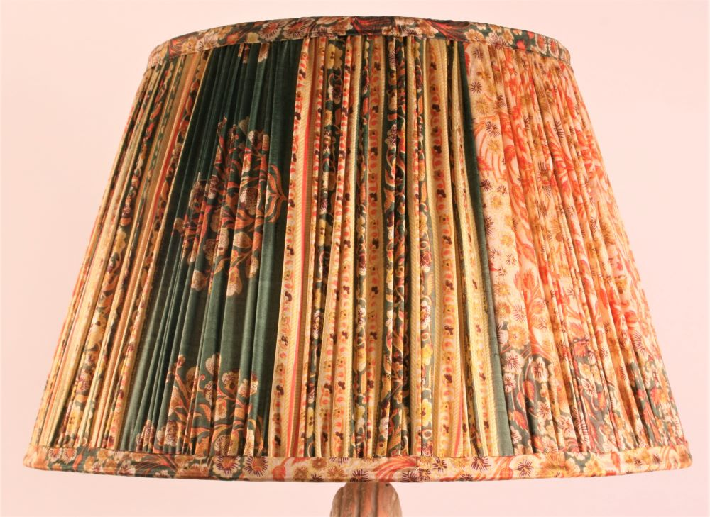 Coral and ochre with green pallu and border silk lampshade