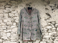 Load image into Gallery viewer, Cream, Green and Pale Purple Kantha Coat