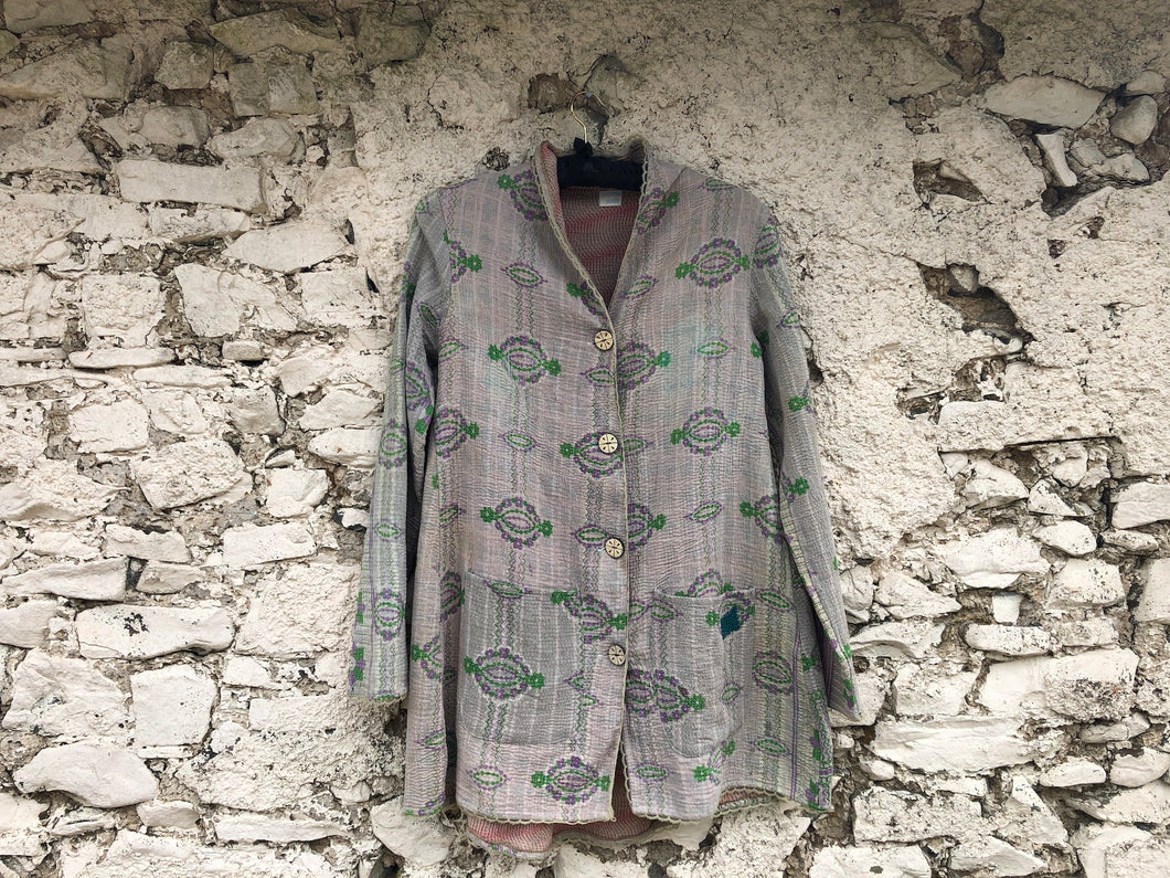Cream, Green and Pale Purple Kantha Coat