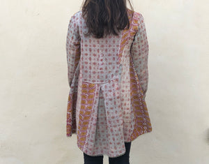 Cream, Pink and Yellow Kantha Coat
