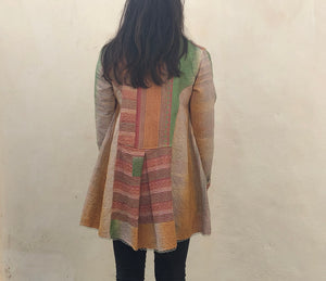 Orange, Cream, Green and Pink Striped Kantha Coat
