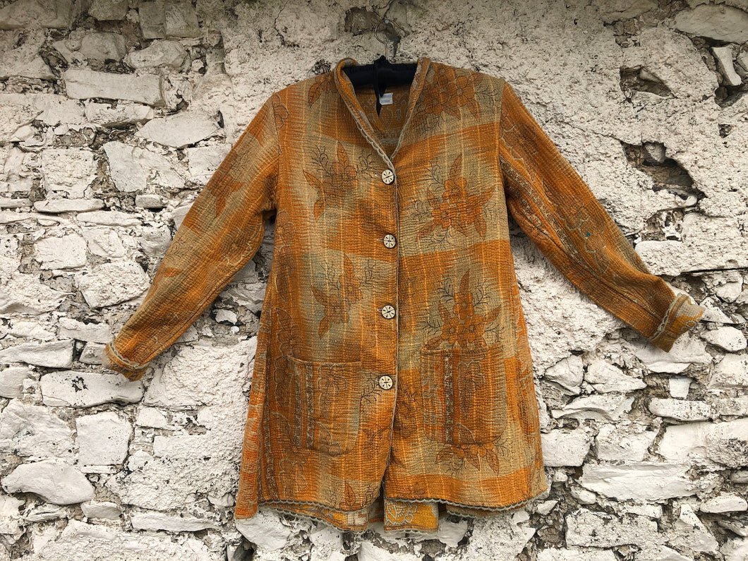 Orange and Ochre Kantha Coat