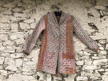 Load image into Gallery viewer, Cream, Pink and Yellow Kantha Coat