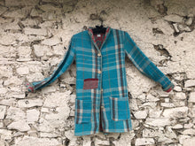 Load image into Gallery viewer, Blue, Grey and Pink Kantha Coat