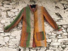 Load image into Gallery viewer, Orange, Cream, Green and Pink Striped Kantha Coat