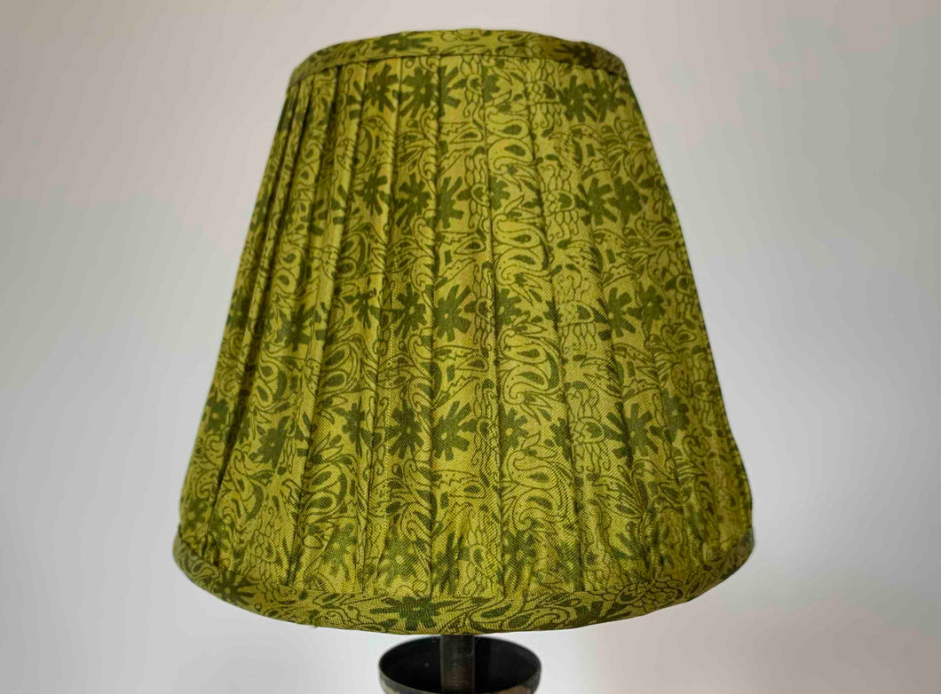 Acid green floral silk lampshade