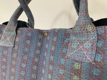 Load image into Gallery viewer, Blue with pink kantha dog bag