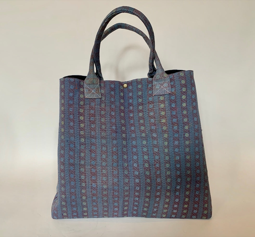 Blue with pink kantha dog bag