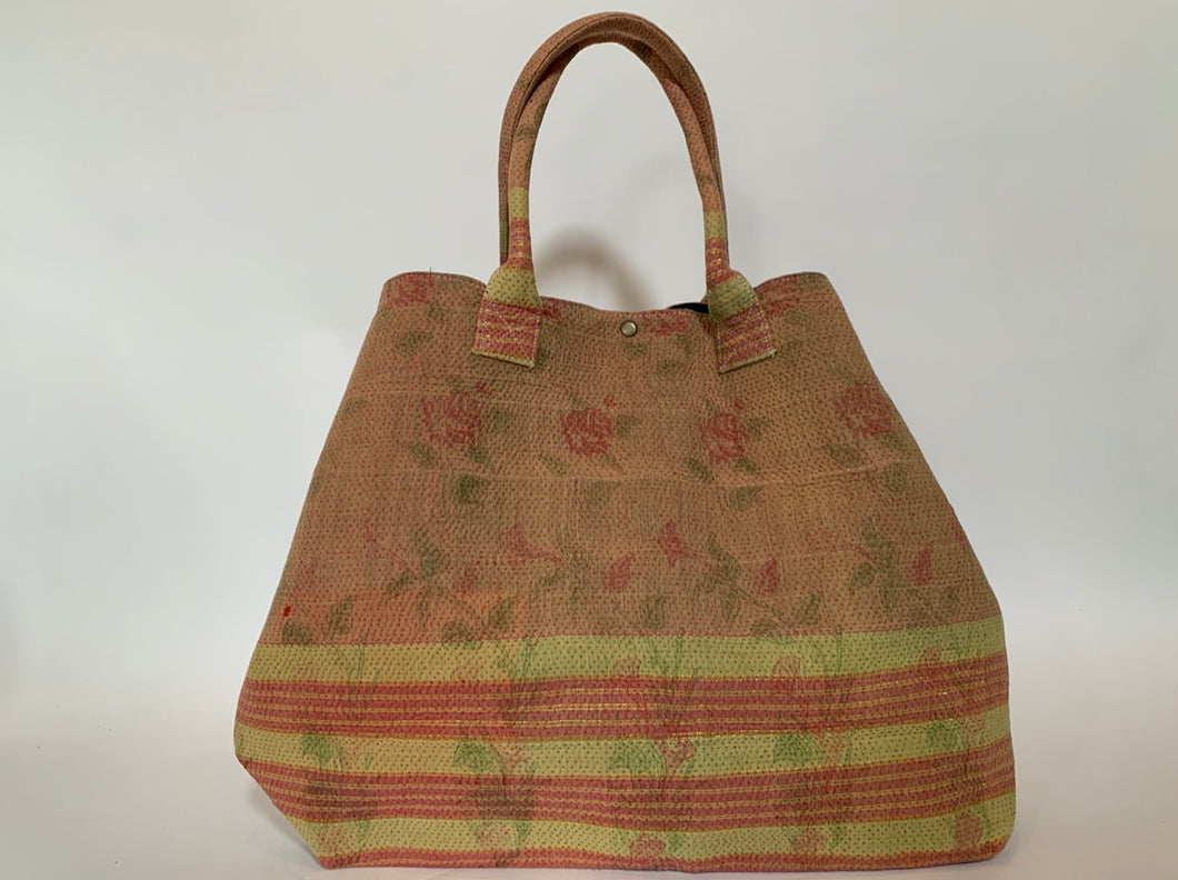 Pink and lime with gold detailing kantha dog bag