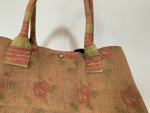 Load image into Gallery viewer, Pink and lime with gold detailing kantha dog bag