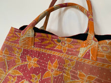 Load image into Gallery viewer, Pink with orange floral kantha dog bag