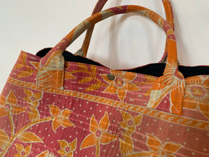 Pink with orange floral kantha dog bag