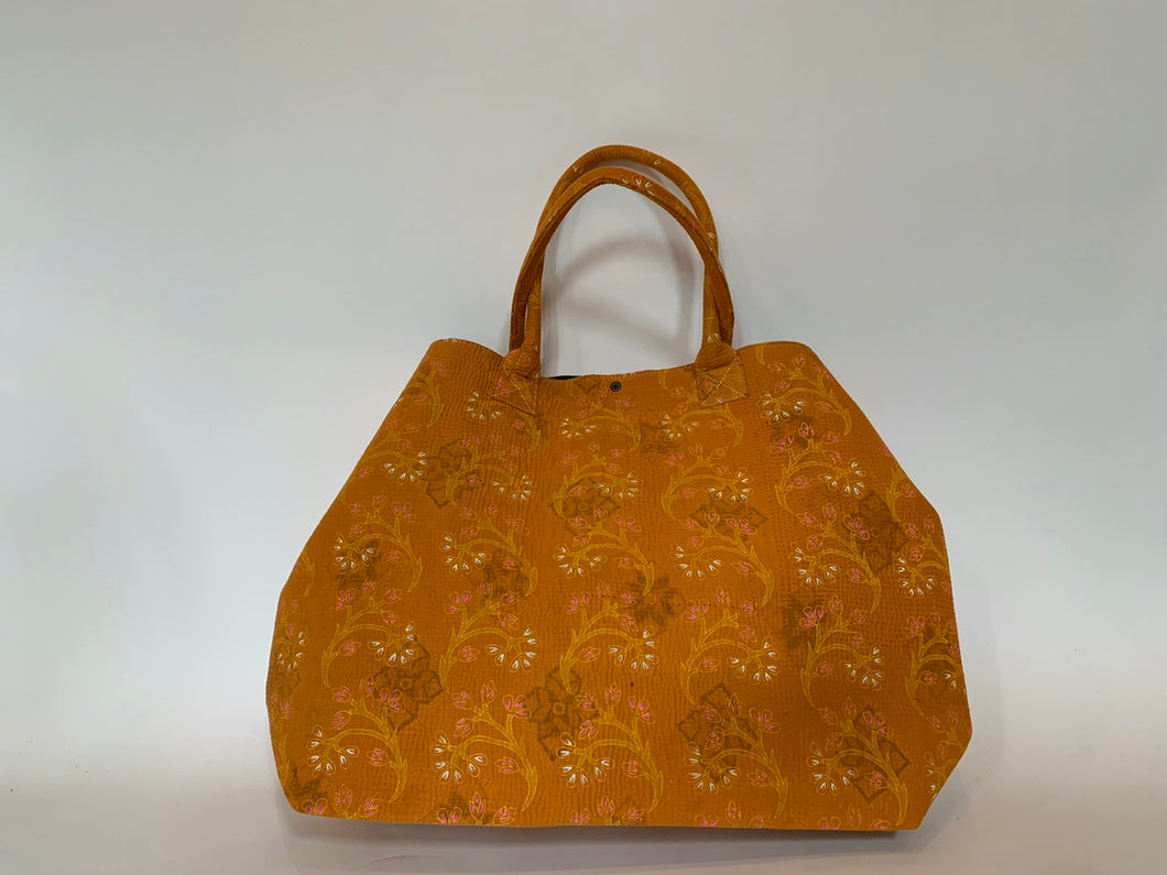 Orange kantha dog bag