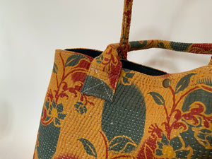 Saffron with red and teal kantha dog bag
