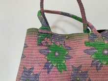 Load image into Gallery viewer, Pink with violet and green kantha dog bag