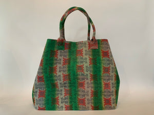 Bright Green and Pink Kantha Dog Bag