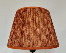 Load image into Gallery viewer, Orange and terracotta paisley silk lampshade