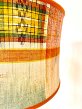 Load image into Gallery viewer, Orange kimono silk stretched sloped drum Lampshade