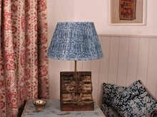 Load image into Gallery viewer, Indigo Grid Cotton Lampshade