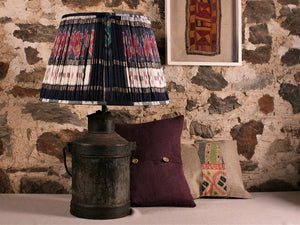 Purple/White/Red And Black Silk Lampshade