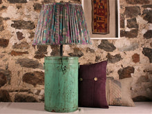 Load image into Gallery viewer, Aqua Lilac And Grey Silk Lampshade