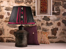 Load image into Gallery viewer, Black With Pink And Cream Silk Lampshade