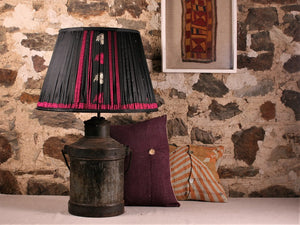 Black With Pink And Cream Silk Lampshade