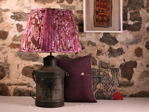 Purple And Brown Silk Lampshade