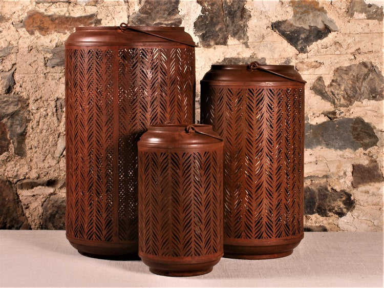 Set of Rust Effect Hurricane Lamps